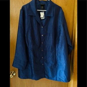BNWT Lane Bryant Blue holiday beauty blouse sz 4x